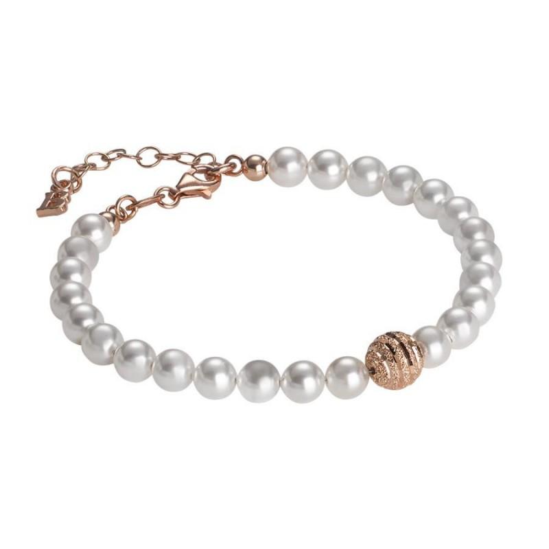 43ce28443e25b5 Bracciale Boccadamo BR476RS perle Swarovski e argento rosato