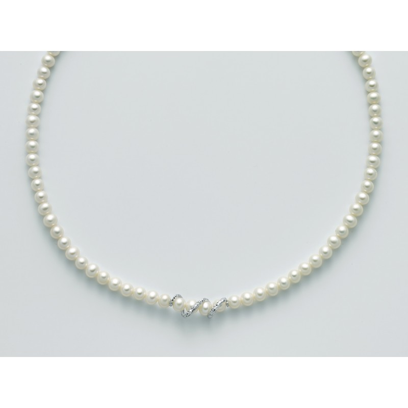 tessuti pregiati gamma molto ambita di vendita online Collana Miluna PCL5530 filo di perle con diamante