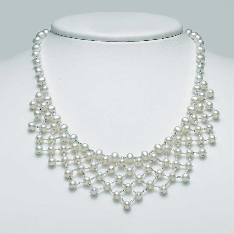 design moderno autorizzazione stile unico Collana Miluna PCL5099 filo di perle e argento